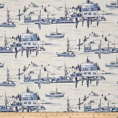 Michael Miller Indigo Cove The Cove Parchment from @fabricdotcom  From Michael Miller, this Indigo Cove cotton print collection is perfect for quilting, apparel and home decor accents. Colors include white, tan and blue.