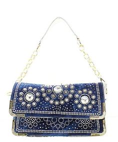 """Material:Faux Leather Size: 11 """"L X 4.5 """"D X 7 """"H *Fashion Denim Rhinestone Handbag *Zipper Top Closure With Magnetic Flap *Dual Compartments Inside With Open Pockets *Adjustable Shoulder Strap Include"""
