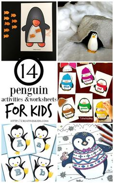 14 Penguin activities, worksheets, and free printable coloring sheets for kids! Plus 18 penguin crafts for kids!