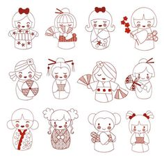 Kokeshi japanese dolls redwork machine embroidery designs
