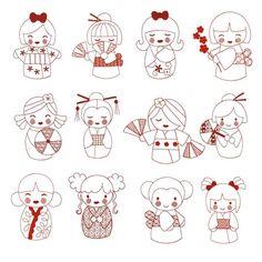 Kokeshi Dolls Redwork Machine Embroidery Designs | Designs by JuJu