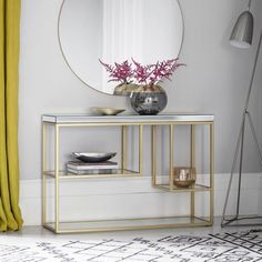Gallery Direct Pippard Champagne and Mirrored Console Table - CFS Furniture UK Marble Console Table, Modern Console Tables, Console Table With Mirror, Console Table Decor, Metal Tables, Muebles Living, Mirrored Furniture, Affordable Furniture, Furniture Websites