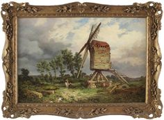 Samuel Henry Baker Antique Impressionist Oil Painting Country Windmill Figures Windmill, Impressionist, Oil, Country, Antiques, Painting, Ebay, Antiquities, Antique