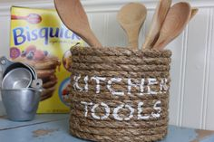 Nautical Kitchen decor  tool caddy  wrapped by highplainsknotwork,sold