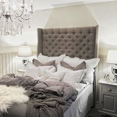 Grey tufted headboard and furniture color