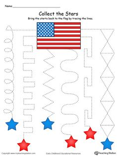 **FREE** Trace the Pattern to Collect the Stars in Color Worksheet. Practice tracing patterns and help your child develop their fine motor skills in this pre-writing patriotic printable worksheet.