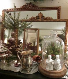 Gold Gilded Mirrors Gold Gilding, White Houses, Home Collections, Open House, Mirrors, Holiday, Christmas, Decor, White Homes