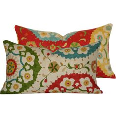 Red Suzani Southwestern Pillow Cover Double Sided Lumbar in Red, Green, Yellow and Blue, Fiesta Infusion Collection. Love these colors