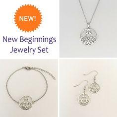 New Beginnings Silver Jewelry Set Silver Pendant Necklace, Sterling Silver Jewelry, Silver Earrings, Bridal Jewelry, Jewelry Gifts, Jewelry Organization, Boyfriend Gifts, Earring Set, Diamond Jewelry