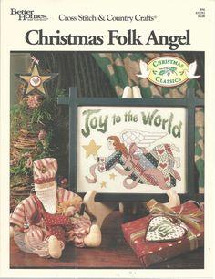 Counted Cross Stitch Christmas Folk Angel Pattern Joy 1992 Better Homes Gardens  #BetterHomesGardens #WallHanging