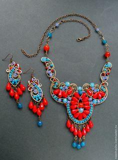 Купить Серьги Банафрит - золотой, оранжевый, синий, голубой, бирюзовый, комплект, подарок, фэнтезийное, модерн