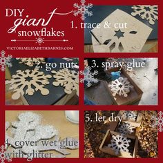 DIY glass glitter Christmas decorations... I made huge snowflakes for our holiday home tour