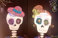 6th Grade Halloween Art- Painted Skeletons