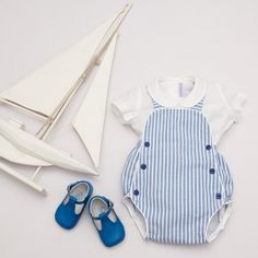 Baby Blue And White Striped Romper - Ancar
