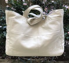 Upcycled white leather bag made from an outdated white leather coat. Handmade in New Orleans. White Leather, Leather Bag, Cute Bags, Make And Sell, Bag Making, New Orleans, Belts, Upcycle, Wallets