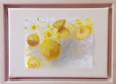 "Fresh yellow lemons lie on a pale Gray Foreground in lemon juice. This is a 3""x5"" painting on paper, mounted on an 5""x7"" stretched canvas and framed in a maple floater frame. Mini Paintings, Your Paintings, Original Paintings, Visual Cue, Shades Of Turquoise, Deep Teal, Art Series, New World Order, Kraft Paper"