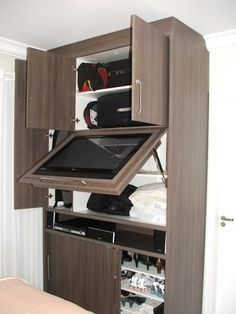 suporte para tv encaixado na porta do guarda roupa - Pesquisa Google