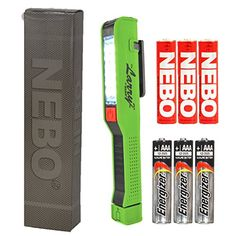 BUNDLE NEBO Larry 2 Pocket Work Light LED Flashlight 6054 Lime Green w 3x AAA Energizer Max Alkaline batteries * Read more reviews of the product by visiting the link on the image.