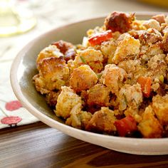 Crawfish and Andouille Cornbread Dressing #Thanksgiving #Stuffing
