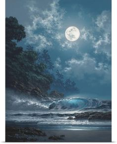 Beautiful Blue 💙  Tabora Art Poster Print Wall Art Print entitled Behold the Moon, None