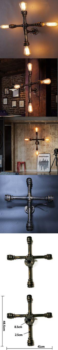 Vintage Nostalgic Industrial Antique Lustre Loft Water Pipe Edison Wall Sconce Lamp Bookshelf Bedroom Modern Home Decor Lighting $74.36