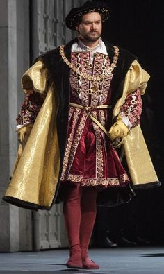 Henry VIII's Red Costume (Donizetti's Anna Bolena at Metropolitan Opera, 2011 Costume Renaissance, Renaissance Mode, Elizabethan Costume, Elizabethan Fashion, Tudor Fashion, Medieval Costume, Renaissance Fashion, Renaissance Clothing, Elizabethan Clothing
