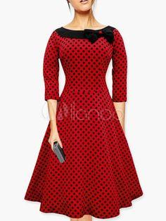 Polka Dot vestido Vintage de arco - Milanoo.com