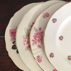 Set of 4 Vintage Mismatched Plates - Pink Florals- Mix and Match Plates -Salad Plates - Shabby Chic Home Decor by DishUponAStar on Etsy https://www.etsy.com/listing/495905464/set-of-4-vintage-mismatched-plates-pink
