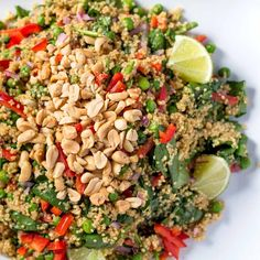 ***Thai Peanut Quinoa Salad : All it takes is one pot and 30 minutes to get this healthy, whole-grain salad on the table. VERY easy! Mike said it needed a little extra flavor kick. Healthy Cooking, Healthy Salads, Healthy Eating, Cooking Recipes, Healthy Food, Quinoa Salad Recipes, Vegetarian Recipes, Healthy Recipes, Quinoa Meals