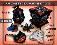 Halloween decorations kit lace3d - FSL - 5x7 hoop - Machine embroidery…
