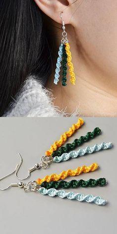 Handmade with and DIY Earrings Handmade with and Crochet Jewelry Patterns, Crochet Earrings Pattern, Crochet Accessories, Crochet Jewellery, Crochet Bracelet, Macrame Patterns, Beaded Earrings, Earrings Handmade, Handmade Jewelry