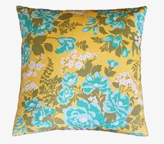 Vintage yellow and turquoise pillow