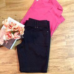 White House Black Market Shorts Black Bermuda shorts with gun metal colored buttons. White House Black Market Shorts Bermudas