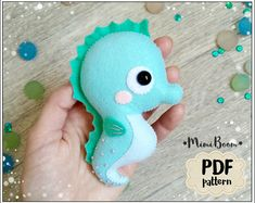 Cute seahorse ornament pattern Felt pattern seahorse PDF Ocean pattern Kawaii pattern seahorse Easy pattern plushie seahorse Sewing pattern - Easy tutorial on how to make the felt seahorse ornament. Completely hand sewn, no need a sewing mac - Felt Doll Patterns, Plushie Patterns, Fish Patterns, Pdf Sewing Patterns, Stuffed Toys Patterns, Sewing Tutorials, Baby Pattern, Pattern Floral, Fish Ornaments