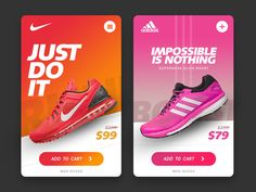 Webdesign_Product Nike vs Adidas - UI Shoes by tendyxandro Acne - Not Just A Problem For Teenagers A Web Design, Flyer Design, Layout Design, Instagram Design, Portfolio Layout, Portfolio Book, Vintage Logos, Retro Logos, Photoshop Design