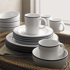 Roulette Blue Band 16-Piece Dinnerware Set | Crate and Barrel