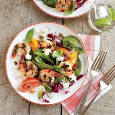 Herbed Shrimp with Tomato-Spinach Salad | MyRecipes
