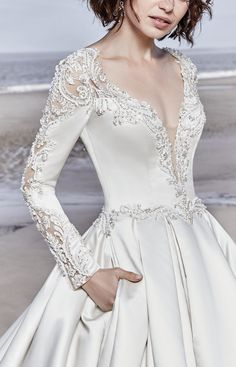 Sottero and Midgley - BRENNON, This breathtaking Carlo Satin wedding dress features long sleeves accented in exquisite illusion lace details and beading. #Midgleybride #SotteroandMidgley #modernbride #syttd #chicweddings