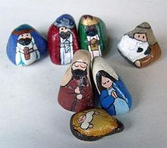7-Piece Stylized Colorado Rocks Nativity Set - Unique Nativity Sets | Nativity Scene Figures | Painted on Rocks and Stones by Cindy Thomas