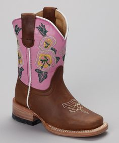 Love this Bonanza Boots Canela Pink & Brown Canela Boot by Bonanza Boots on #zulily! #zulilyfinds