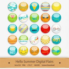 Hello Summer Digital Flairs Scrapbooking Elements by GoneDigital