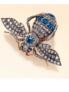 Diamond and Sapphire bug brooch