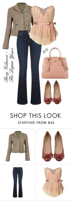 """""""Rory Gilmore - The Logan Years"""" by stargazer27 ❤ liked on Polyvore featuring True Religion and Prada"""
