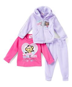 Look what I found on #zulily! Real Love Lavender 'Tutu Cute' Fleece Hoodie Set - Infant, Toddler & Girls by Real Love #zulilyfinds