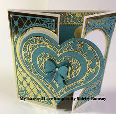 Tri Fold Cards, Folded Cards, Wedding Cards, Wedding Invitations, Invites, Love Valentines, Valentine Cards, Tattered Lace Cards, Elizabeth Craft
