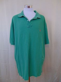 Polo Ralph Lauren Shirt Cotton Green Short Sleeve Size 3XLT Tall #1040 #PoloRalphLauren #PoloRugby