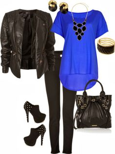 Outfit - Black Leather Jacket, Azure Chiffon Blouse, Black Skinny Jeans, Black Studded Ankle Boots, Black Oversized Handbag and Matching Accessories
