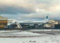Icelandair DC-8 at Keflavik Airport, Iceland, 1986.