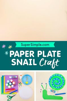 Make a cute snail with a paper plate! Simple Crafts, Easy Crafts For Kids, Summer Crafts, Bug Crafts, Preschool Crafts, Summer Activities For Kids, Kid Activities, Paper Plate Crafts, Paper Plates