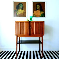inspiration for my bedroom // black and white striped walls  Vintage Cocktail Cabinet. — zanders and sons